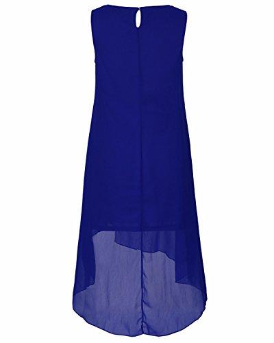 BIUBIU Damen Chiffon Freizeit ärmellos Rundhals Kleid Spitze Detail Party  Midi Kleid Blau