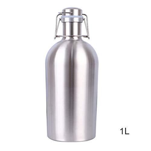 KENANLAN 1 STÜCK 304 Edelstahl biertopf einzigen doppelte Isolierung kalt und druckbeständig Bierflasche sportflasche (1L Single Layer ist Nicht isoliert)