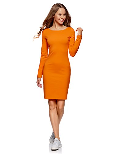 oodji Ultra Damen Enges Jersey-Kleid, Orange, DE 36 / EU 38 / S
