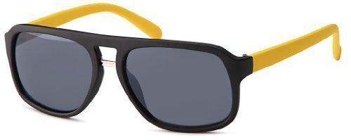 Sense42 Retro Sonnenbrille matt Two Tone, gelb farbige Bügel Nerdbrille Wayfarer-Stil Damen Herren Unisex mit Brillenbeutel (Wayfarer Two Tone Sonnenbrille)