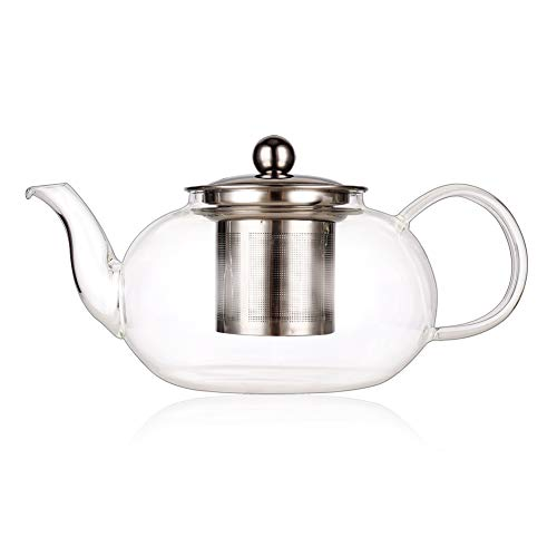 Nord 800ML Glass Teapot with Infuser, Teapot with Strainer, High Borosilicate Glass Heat Resistant Kettle with Filter, Stove Top Teapot with Strainer for Loose Leaf - Microwave Safe