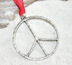Zinn Gehämmert Peace Sign groß Weihnachten Holiday Ornament Dekoration