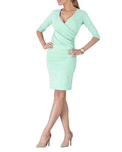 Moollyfox Donna Elegante Cocktail Party Scollo a V Manica Corta Vestito a Matita Verde chiaro