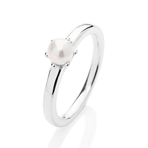 Heartbreaker Chaton Ring mit Muschelkernperle in Echtsilber | Kollektion Style & Go Steckringe | Chatonring aus 925 Sterlingsilber | Edler Ring für Damen (Jungen-ring-träger-outfit)