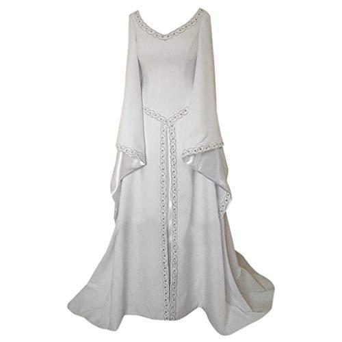 (Lazzboy Karneval Kostüme Cosplay Damen Langarm V-Ausschnitt Mittelalterlich Kleid Bodenlang Kleid(Weiß,M))