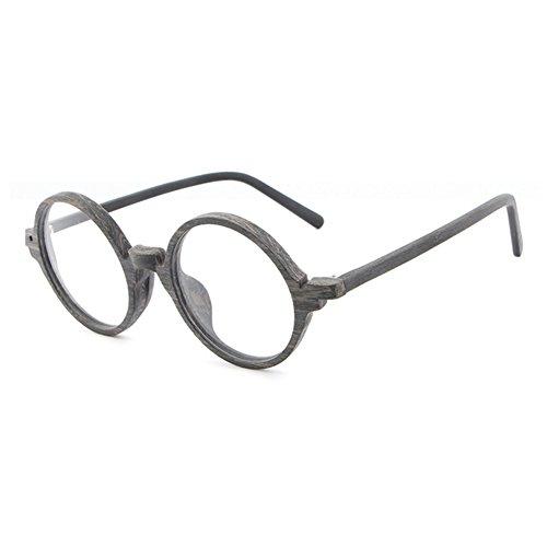 Hibote Männer Frauen Holz Brille - Klare Linse Brillengestell - Runde Brillen 122914
