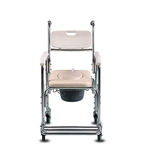 KOSHSH Deluxe Wheeled Toilettenstuhl, Aluminium Over Toilettensitz für Pregnant Frau Sicherheit Mobile Unterstützung im Innenbereich -
