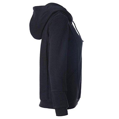 Tonsee Hauts de Hoodies femmes Casual Sweatshirt automne hiver manches longues Noir