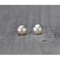 Eco Pebble Earring Studs in Recycled Sterling Silver