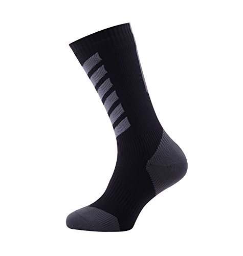 SealSkinz Herren MTB Mid with Hydrostop Socken, Mehrfarbig (Black/Charcoal/Anthracite), 43-46 EU (Large) -