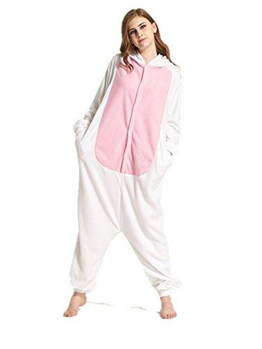 Dreamskull Schlafanzug Hausanzug Cartoon Cosplay KostümPyjama Jumpsuit Overall Einteiler Einhorn Tiere Winter Fleece Damen Mädchen Erwachsene Unisex Lang (L, (Ziege Kostüm Ein Die Trägt)