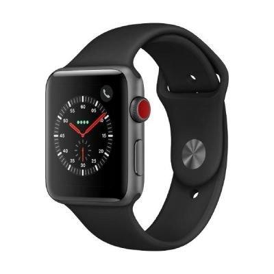 Apple Watch Series 3, 42 mm, GPS + Cellular, Aluminium Gehäuse, Space Grau mit Sport-Armband, Schwarz, 2017