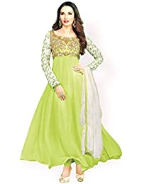 Varibha® Women's Yellow & White Wear Georgette Anarkali Suit Dress Material | Best Deal Of The Day | Best Offer...