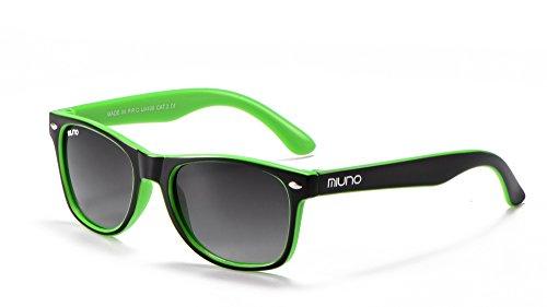 Miuno® Kinder Sonnenbrille Wayfare für Jungen und Mädchen Etui 2688 (Schwarz/Grün)