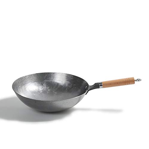 Berrd Home Wok on Hand Round The Tip of The Old Traditional Chinese Wok Gas Stove Applicable-Iron Pot 36cm,36cm Hand Forged Carbon