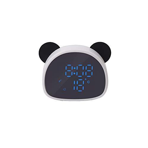 LJ2 Digitaler Wecker, Panda Spiegel Wecker Niedliche Büro-Desktop-Deko-Uhr Multi-Sprachsteuerung Funktionsaufzeichnung