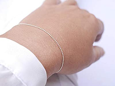 Cadeau Noël - Bracelet gourmette chaîne boules argent - chaîne très fine en argent 925 - bracelet chaîne argent - bracelet fin argent minimaliste -