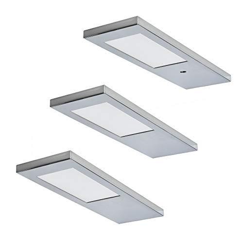 Ella 3-licht (LED Unterbauleuchte Ella 3 x 3,5 W warmweiss Küchenlampe Edelstahl Optik Flächen-LED *571536)