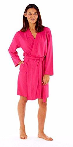 Damen Bademantel Sommer Baumwolle Leicht Robe Rosa