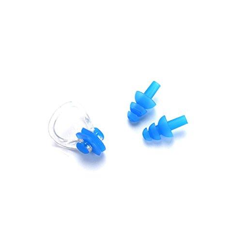 Busirde Nuoto silicone della clip del naso con orecchio delle spine Set per il nuoto o altri sport acquatici B | lue