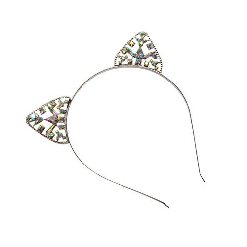 Haarband Kristall Strass Katze Ohr Stirnband für Frauen Mädchen (Silber) (Einfach, Halloween-katze-auge)
