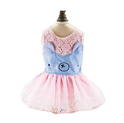 Bären Kostüm Weibliche - YAMEIJIA Hunde Katzen Haustiere Kleider Hundekleidung Voiles Und Sheers Bär Zeichen Dunkelblau Rosa Chiffon Maschen Kostüm Für Haustiere Weiblich,Pink,XS