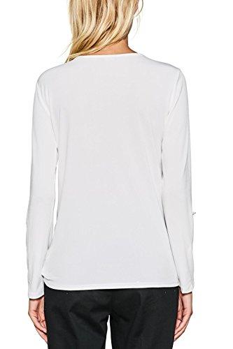 ESPRIT Collection Damen Langarmshirt 997eo1k804 Weiß (Off White 110)