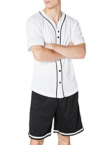 Urban Classics TB1237 Herren T-Shirt Baseball Mesh Jersey, Gr. X-Large, Mehrfarbig (wht/blk 224)