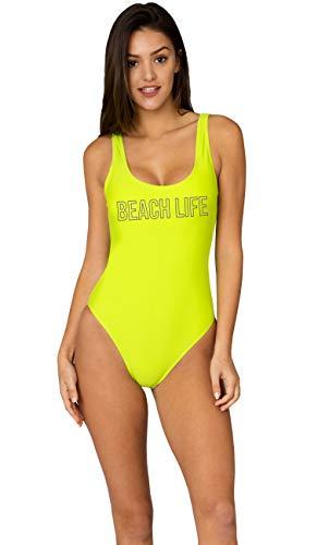 Ingear Badeanzug mit hohem Beinabschluss, rückenfrei, brasilianisches Design, niedriger Rücken, Badeanzug - Grün - Large -