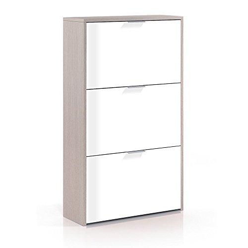 Habitdesign LC0877R - Zapatero con 3 Puertas Capacidad 18 Pares, Color Exterior Roble y Frontales Blanco...