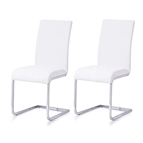 GXDHOME Boss Stuhl Stühle Set Von 2 Kunstleder Esszimmerstuhl, Chromstahl Gestell Beine Hochlehner Küche Esszimmermöbel 3 Farbe Computer Stuhl (Color : White)