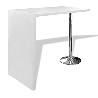 High Gloss Bar Coffee Table Dining Table With 1 Leg White - low-cost UK light shop.