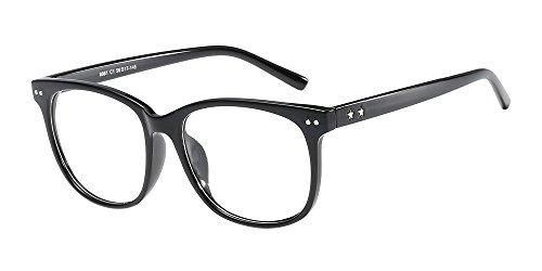Bozevon occhiali trasparenti con lenti chiaro - occhiali da lettura con montatura in metallo rotondi ultrasottile decorativo occhiali da vista retro eyewear per uomo donna neri brillanti (stella)