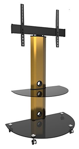 Goldline Gold Black Glass Led Tv Unit Tv Stand With Wheels Black