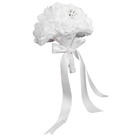 Bouquet de Mariée Roses Fleurs Artificielles pour Mariage - Blanc