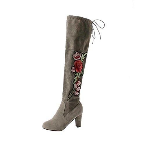 Vovotrade® Damen Schuhe Frauen Rose Sticken Oberschenkel Hohe Stiefel über Die Knie Stiefel Flock High Heels Schuhe (Size:42, Grau) (Knie-hohe Turnschuhe)
