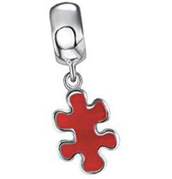 Autismo Puzzle Everbling con esmalte rojo 925 de plata de ley pendientes largos con forma colgante para Pandora pulseras de seguridad europeo para pulsera
