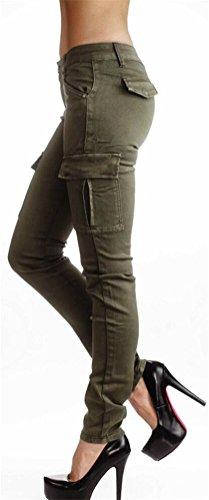 SMITHROAD Damen Stretch Jeansleggins Skinny Jeanshose Röhrenjeans Armeegrün in 6 verschiedenen Designvarianten Stil B