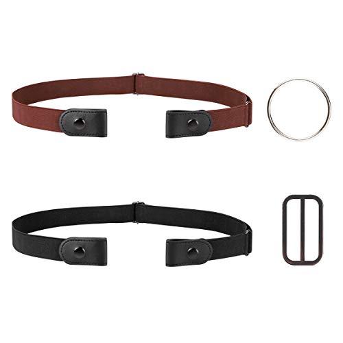 Cinturón de Mujer Hombre Elástico sin Hebilla, 2 Piezas No-buckle Cinturón de Invisible para Pantalones Vaqueros Pantalones Vestidos con 2 Anillos de Metal