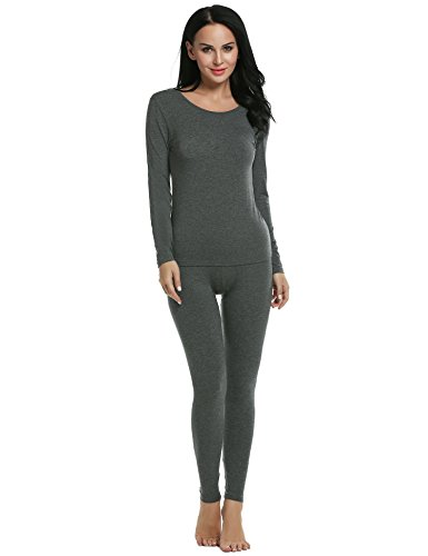 Ekouaer Lingerie Sets Womens Two-Pieces Thermal Shirt&Pants Underwear (Gray, Large)