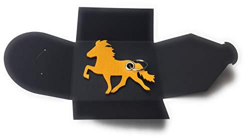 Schlüsselanhänger aus Filz - Island-Pferd/Reiter - gelb/Safran-gelb - als Geschenk, Glücksbringer mit Öse und Schlüsselring - Made-in-Germany