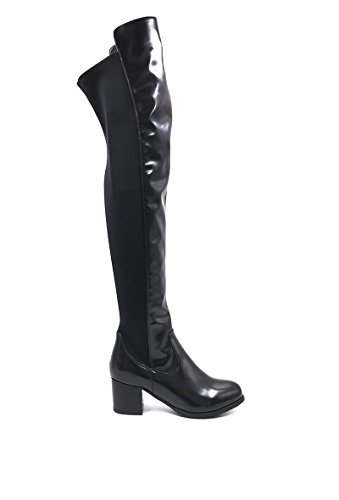 CHIC NANA . Chaussure Femme Cuissarde à Talon en Similicuir Vernie, dotée d'un Bout Rond, bi matière élastique.