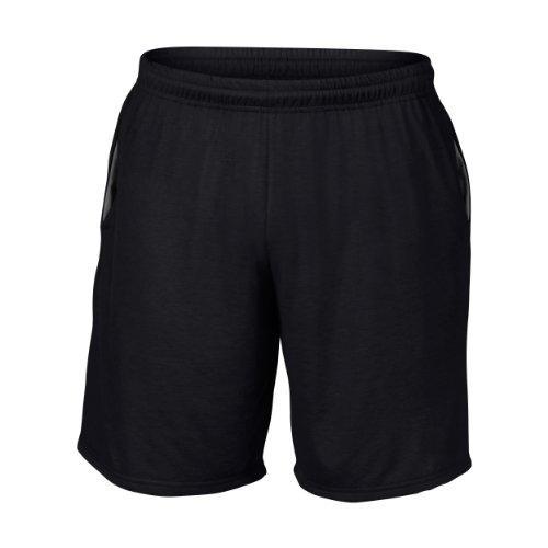 Gildan Performance Unisex Sport-Shorts mit Tasche (2XL) (Schwarz)
