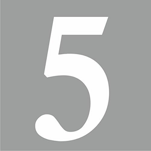 """iSecur® Aufkleber """"selbstklebende Hausnummer - 5 -"""", 10cm höhe, weiss, Art. Nr. kfz_268, im Außenbereich, Ziffer, Zahl, Nummer, Hausnummer 5, Nummer 5 Wohnung, Haus, Loft, Appartement, Hausnummer, Wandtattoo, Rauhfaser geeignet, Tür-, Fenster-, Schrank-, & Spiegelaufkleber"""