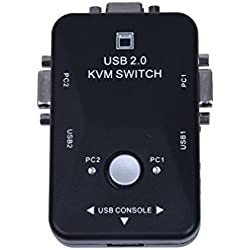 Original Auto Controller 2 Port Hub USB 2.0 KVM SVGA VGA Switch Box Monitor Keyboard Mouse Printer Adapter Connects