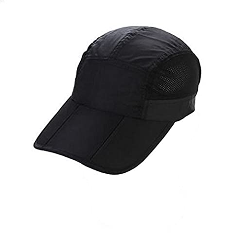 NYCOODNY Sport Light Weight Breathable Cap Outdoor Runing Hat Folding Baseball Cap?Black?