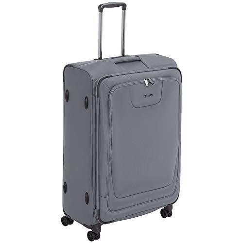 AmazonBasics, Premium, valigia espandibile, morbida, con rotelle multidirezionali e chiusura TSA, 74 cm, Grigio
