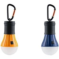 AceCamp 2 x Batteriebetriebene LED Campinglampe I Wasserdichte Zeltlampe zum Aufhängen I Dimmbar mit 40 Lumen I Inklusive 3 AAA Batterien und Karabinerhaken, Doppelpack Orange Blau, 102836-ace