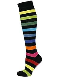 Mysocks® unisexo Rodilla alta calcetines largos raya Algodón penteado extra fino