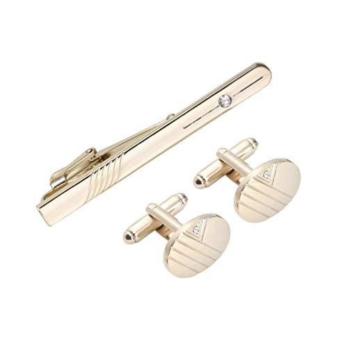 Wenwenzui Gentleman Stainless Steel Cutting Line Diamond Tie Clip and Cufflinks Set golden Diamond Mens Tie